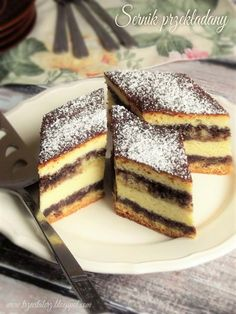 Sernik przekładany - kuchnia podkarpacka Polish Cake Recipe, Polish Recipes, Sweet Recipes, Cake Recipes, Cheesecake, Russian Recipes, Food Cakes, Christmas Baking, Christmas Cakes