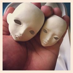 New facemolds. Raw porcelain waiting to dry. Ooak forgotten hearts bjd dolls