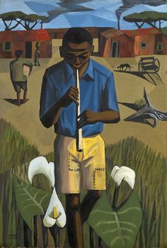 Peter Clarke, Flute music, 1960. Oil on canvas. 650 x 440 mm. Private collection
