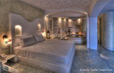 Astarte Suites in Santorini - Honeymoon suite private jacuzzi Santorini Hotels, Santorini Greece, Santorini Island, Santorini Honeymoon, Greece Honeymoon, Greece Hotels, Indoor Jacuzzi, Home Interior, Arquitetura