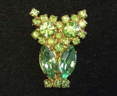 Vintage Brooch Pin Rhinestone Owl Green Gold tone Jewelry lot i    eBay