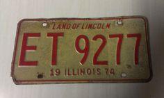 Vintage 1974 Illinois Land of Lincoln Passenger Car License Plate ET 9277