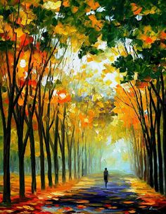 Autumn Mood - Palette Knife Oil Painting On Canvas By Leonid Afremov Painting