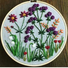 Finished this hoop last night - rachelwinters_sewing ( Finishing Embroidery Hoop, Brazilian Embroidery Stitches, Hand Embroidery Stitches, Embroidery Hoop Art, Ribbon Embroidery, Cushion Embroidery, Diy Embroidery Patterns, Embroidery Flowers Pattern, Needlepoint Patterns