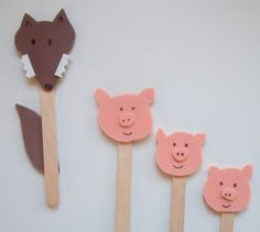 3 Little Pigs stick puppets. I'd make them for lots of fairy tales, with enough characters that the kids could make write their own Pig Crafts, Book Crafts, Art For Kids, Crafts For Kids, Arts And Crafts, Craft Activities, Preschool Crafts, Preschool Education, Three Little Pigs Story