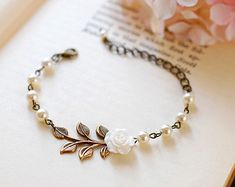 Red Rose Flower Antiqued Brass Leas Cream Ivory Pearls by LeChaim