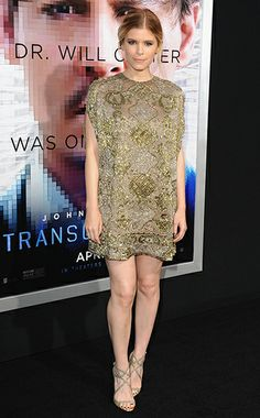 Kate Mara WHAT:  Valentino dress, Jimmy Choo shoes WHERE:  Transcendence premiere, Los Angeles