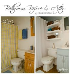 I really like the floors, the idea of using space for adding shelves, and the fresh new paint color & shower curtain