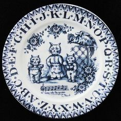 "Charles Allertons Staffordshire Childs ABC Plate - LOUIS WAIN ""Cats in the Garden"", England, 1890"