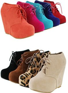 Ankle Wedge Platform Heel Fux Suede Oxford Lace Booties