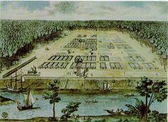 View of Savannah in Georgia. Engraving by Peter Gordon, London, ca. 1734.