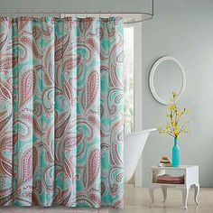 Make a colorful splash with the Intelligent Design Paola shower curtain. In an oversized paisley print in grey, coral, berry, and teal on aquamarine, this elegant yet easy-care curtain will provide your bath with a refreshing update. Extra Long Shower Curtain, Long Shower Curtains, Bathroom Shower Curtains, Fabric Shower Curtains, Aqua Bedding, Bedding Shop, Curtain Shop, Curtain Fabric, Elegant Curtains
