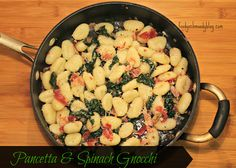 Pancetta and Spinach Gnocchi - dinner in under 30 minutes - Get the recipe http://www.foodyschmoodyblog.com
