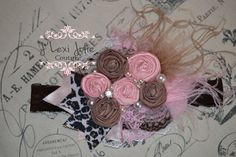Pink brown leopard rosette.Vintage inspired French by JLexiJolie, $27.99