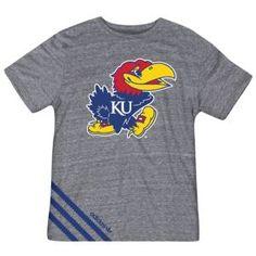 adidas College Big Stripes T-Shirt - Men's - For All Sports - Fan Gear - Kansas - Grey