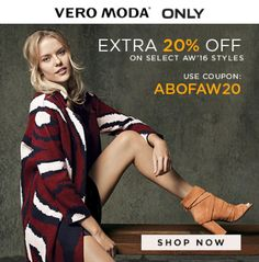 Extra 20% OFF on Select #AW16 #Women's #VeroModa & #Only #Clothes. Choose from variety of #CasualJackets, #Dresses, #Jeans, #Skirts, #Shorts, #Shirts, #TShirts, #Tops, #Trousers and #Tunics. Visit https://goo.gl/AkgHGG and click on #CouponCode to avail this #offer. Hurry!! this #promocode is valid for limited period. #VeroModaoffer #Onlyoffer #Abofcoupons #Abofoffers