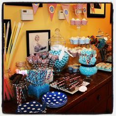 Candy and dessert buffet. Dessert Buffet, Dessert Tables, Candy Buffet, Candy Shop, Grad Parties, Buffets, Bat Mitzvah, Girl Birthday, Party Ideas