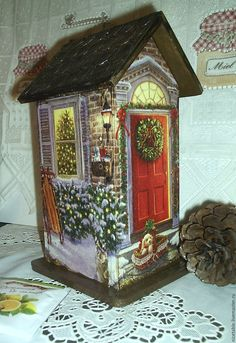 Купить Чайный домик. Рождество. - чайный домик, домик, домики, домик для чая, домик для собаки Christmas Bird, Rustic Christmas, Christmas Projects, Holiday Crafts, Wooden Bird Houses, Bird Houses Painted, Decoupage Vintage, Vintage Crafts, Wooden Crafts