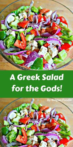 Greek Salad for the Gods An authentic Greek Salad for the Gods!An authentic Greek Salad for the Gods! Healthy Salad Recipes, Vegetarian Recipes, Vegetarian Salad, Vegetable Recipes, Healthy Meals, Healthy Food, Clean Eating, Healthy Eating, Easy Salads