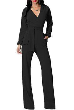 a7007ffcc204 Amazon.com  Engood Women s Elegant Casual Losse Long Wide-leg Jumpsuits  Rompers Dark