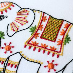 A closeup of the lattice work from the Elephant embroidery kit 🐘 Cushion Embroidery, Basic Embroidery Stitches, Hand Embroidery Videos, Learn Embroidery, Hand Embroidery Patterns, Embroidery Applique, Embroidered Cushions, Modern Embroidery, Embroidery For Beginners