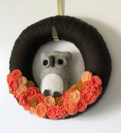 Autumn Wreath Brown Owl Wreath Halloween by TheBakersDaughter, $45.00