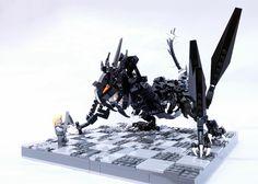 The Jabberwocky and the Vorpal Sword. Vorpal Swords, Lego Dragon, Lego Activities, Lego Mechs, Brick Loft, Lego Models, The Brethren, Cool Lego, Lego Building