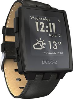Pebble - Steel Smart Watch for Select iOS and Android Devices - Black