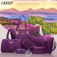 Buy Luxury 6 Set Bags Handbag Shoulder Bag Tote Wallet Key Bag Patent Leather Design Bag for Women at Wish - Shopping Made Fun Large Bags, Small Bags, Purses And Handbags, Leather Handbags, Six Bag, Crossbody Messenger Bag, Tote Bag, Printed Bags, Vintage Handbags