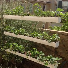 You can create a hanging gutter garden by suspending left over gutter material from a wooden frame.