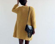 Mustard Crochet Kimono Jacket for Women PDF in English