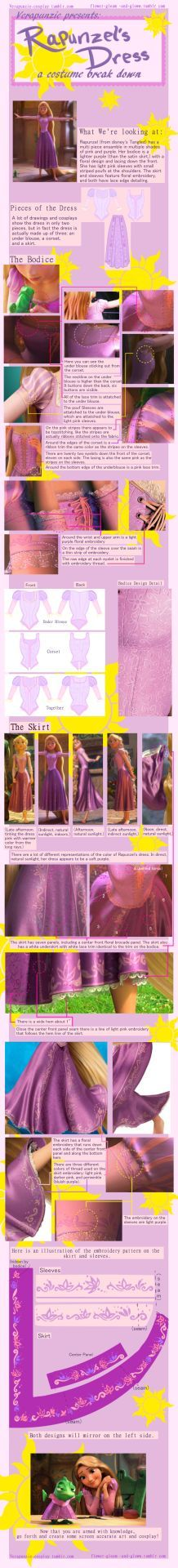 "flower-gleam-and-gloww: ""Rapunzel has a very complicated costume, and good reference photos are hard to come by! I took it upon myself to put together a detailed, in depth explanation of her costume and how it works. I hope it is descriptive enough..."