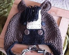 Crochet Horse Ear Flap Hat Newborn - 4T