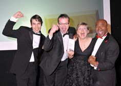 Balfour Beatty celebrate with Kris Akabusi after picking up the 'outstanding in-house public relations team' award at the 2011 Midlands PRide awards