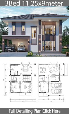 House design plan with 3 bedrooms – Home Ideas Haus Design Plan mit 3 Schlafzimmern – Home Design with Plan 2 Storey House Design, Simple House Design, Bungalow House Design, House Front Design, Minimalist House Design, Modern House Design, Sims House Plans, House Layout Plans, Duplex House Plans