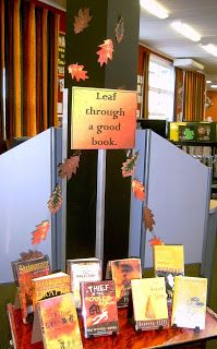 """""""Leaf Through a Good Book"""" -- library  / bookstore display, great for Fall librari display, book displays, fall leaves, autumn leaves, fall librari, librari idea, school librari, library displays, classroom libraries"""