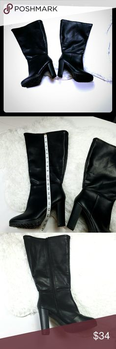 [Lane Bryant] Black Chunky Heeled Boots Lane Bryant Black Heeled Boots. Chunky heel for great support. Lots of room for wider Calfs (like me lol)  Women's size 10W Lane Bryant Shoes Heeled Boots