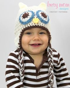 Owl Beanie - Easy Pattern - All Sizes