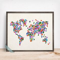 This watercolor world map is sold by vocaprints on etsy it cat world map poster cats world map world map print by vocaprints gumiabroncs Images