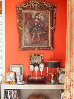 Orange vignette inside an a Bold Maximalist Home