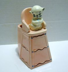Antique Czech? CERAMIC KITTEN on Pink High Chair Planter Figurine, Very old and Cracked