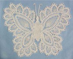 PA140 Butterfly Doily 2 Crochet Pattern.  Butterfly Doily 2 Crochet Pattern has an intricate design that is rated as an easy crochet level. You will be surprised with the crochet skills you have once completing this vintage doily design. The butterfly is a large doily with a height of 18 inches and width of 20 inches.