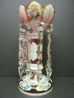 Antique Bohemian Moser Overlay Cut to Clear Overlay Glass Lustres Lusters Prism