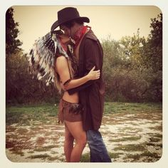 Cowboy & Indian Couple Costume. OBVIOUSLY a more covering girls outfit but love the duster and large headdress!