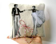 Luxurious wedding rings pillow circus carnival stilts walker lovers bearer painted cushion