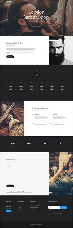 Dylan is an high-performance & modern design #HTML bootstrap template for #saloon #barber shop stunning websites with 20+ different homepage layouts download now➩ https://themeforest.net/item/dylan-responsive-multipurpose-html-template/19269462?ref=Datasata