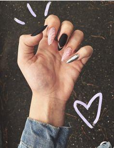 nails - Black white acrylic coffin nail ideas are timeless classics 00066 com Stiletto Nails, Coffin Nails, Acrylic Nails, Nail Manicure, Nail Polish, Hair And Nails, My Nails, Nail Art For Girls, Fire Nails