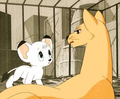 Kimba the white Lion (another creation by Osamu Tezuka the originator of Astroboy). Almost broke my heart as a child. Mother and son are captured after father's death. She gets him out but dies herself when the ship sinks. Cartoon Wolf, Cartoon Gifs, Cartoon Characters, Kimba The White Lion, Lion King Art, Comic Conventions, Astro Boy, Animal Totems, Old Toys