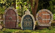 Round Fairy Gnome or Hobbit Door by MagicalFairyGardenz on Etsy
