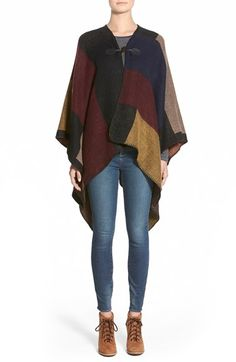 Woven+Heart+Colorblock+Toggle+Poncho+available+at+#Nordstrom